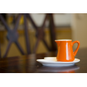 Milk/cream jug Orange + plate
